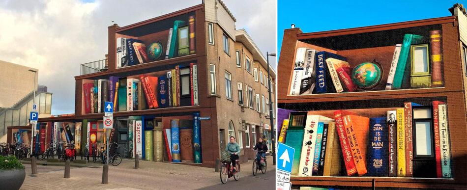 O mural de estante de livros gigante