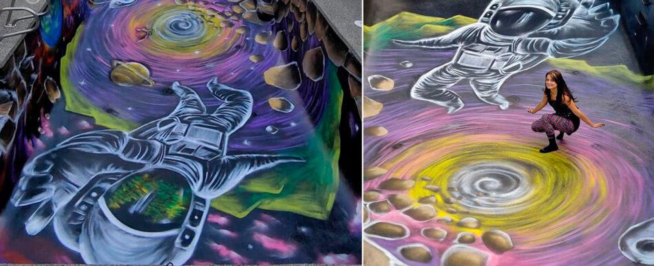 A arte na piscina cheia de cores de Ania Amador