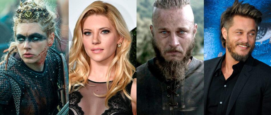 Os atores de Vikings com e sem a caracterização para o seriado