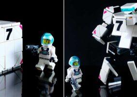 Um cubo de LEGO Transformer que vira robô