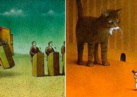 Ilustrações com mensagens sociais e críticas