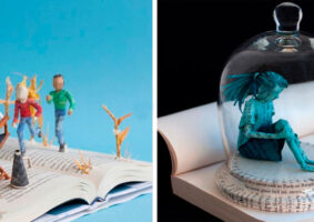 Esculturas de papel sobre livros que refletem a narrativa