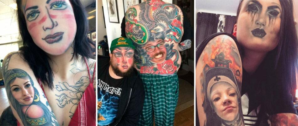 Troca de rosto com tatuagens resulta em imagens hilárias