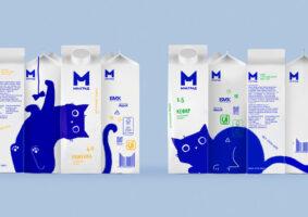 As adoráveis embalagens de leite com gato azul