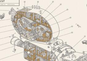 """Na série de ilustrações """"Inside Information"""", o estúdio de design Dorothy, sediado no Reino Unido, revela o que há por dentro de objetos icônicos da história."""