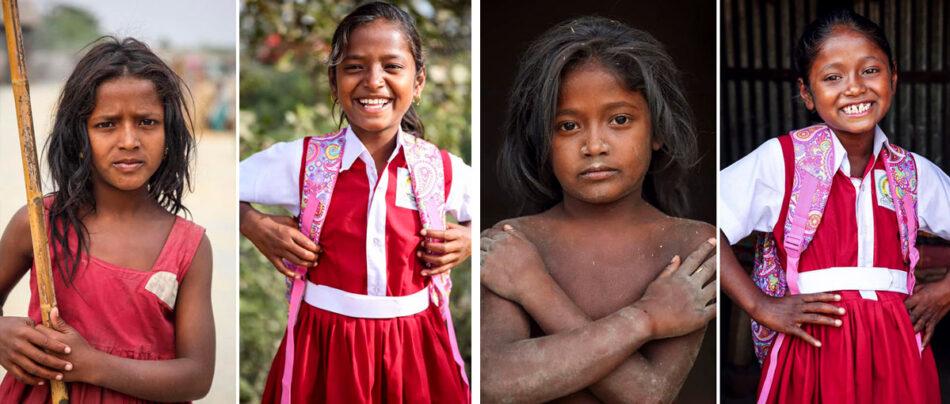 Fotos de Antes e depois da escola em Bagladesh