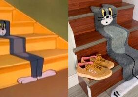 Tapete do Tom traz design como se ele estivesse achatado na escada
