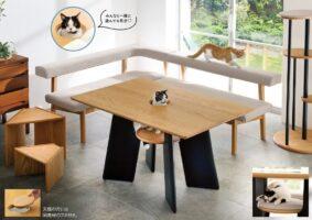 Mesa amigável para gatos tem buraco no meio para o felino espiar